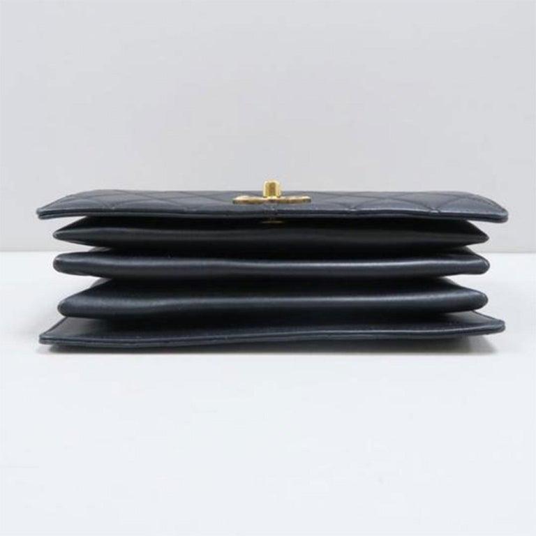 Chanel Bag with Classic Flap Crossbody Rare Enamel Top Handle Black Lambskin Bag For Sale 1
