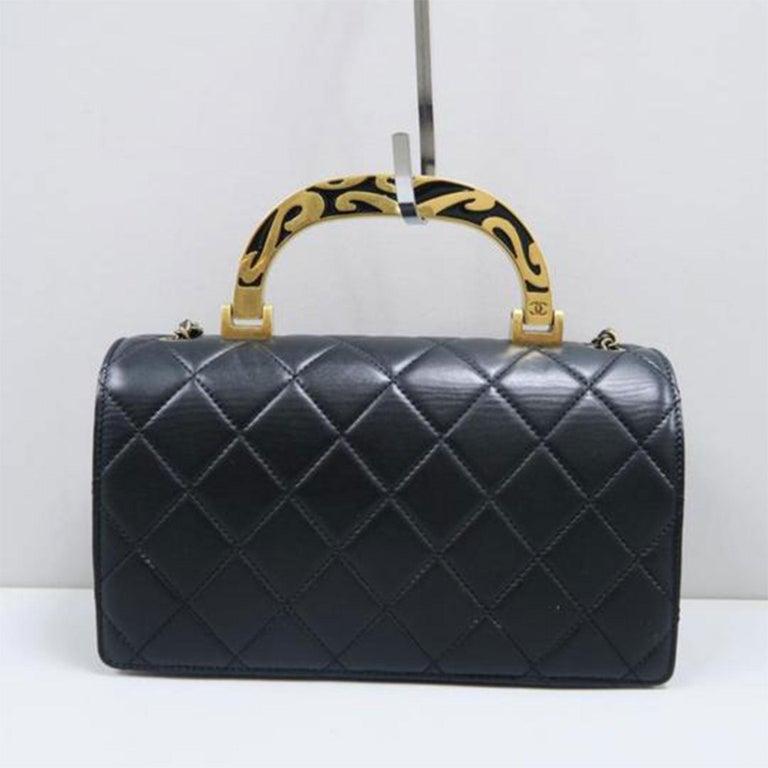 Women's or Men's Chanel Bag with Classic Flap Crossbody Rare Enamel Top Handle Black Lambskin Bag For Sale