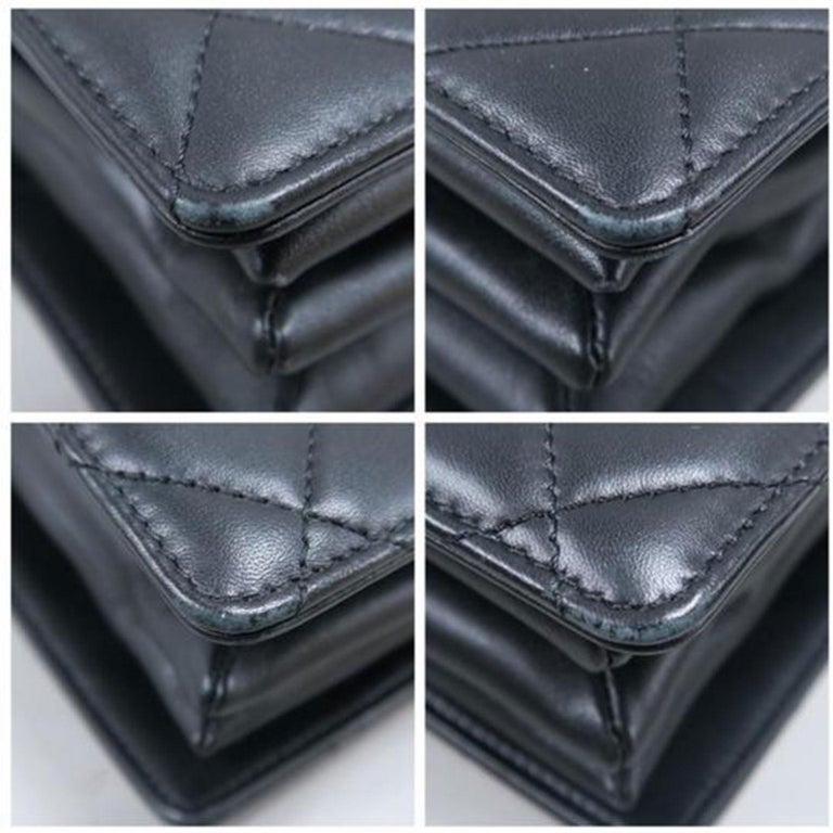 Chanel Bag with Classic Flap Crossbody Rare Enamel Top Handle Black Lambskin Bag For Sale 4