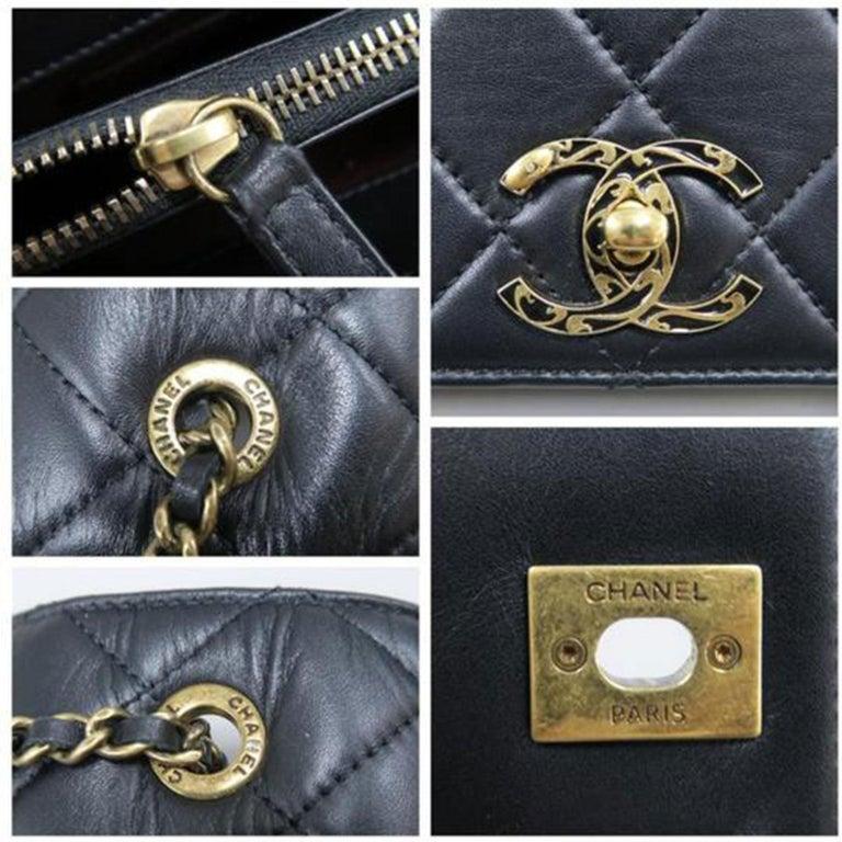 Chanel Bag with Classic Flap Crossbody Rare Enamel Top Handle Black Lambskin Bag For Sale 5