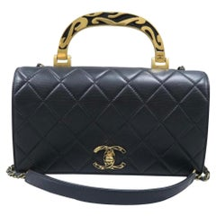 Chanel Bag with Classic Flap Crossbody Rare Enamel Top Handle Black Lambskin Bag