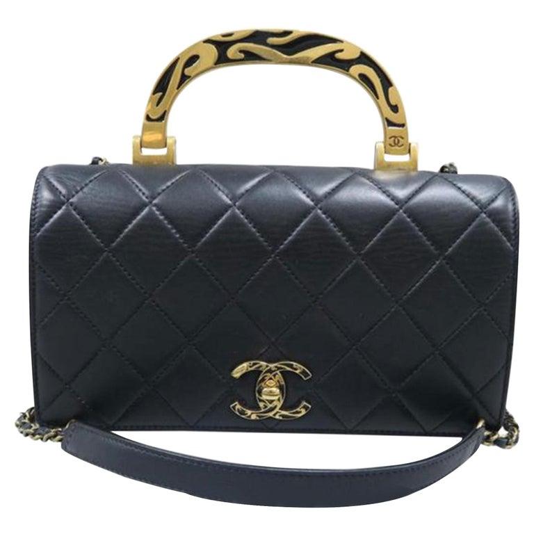 Chanel Bag with Classic Flap Crossbody Rare Enamel Top Handle Black Lambskin Bag For Sale