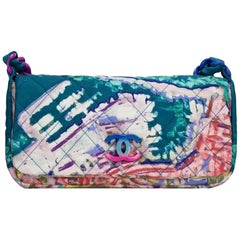 Chanel Bag with Top Handle Classic Flap Graffiti Watercolor Turquoise Nylon Bag