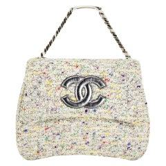 Chanel Bag with Top Handle Classic Flap Vintage Logo Nameplate Tweed Clutch