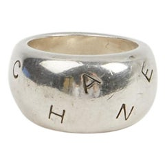 CHANEL Band Ring in Sterling Silver Metal Size 6.5 US
