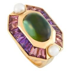 Chanel Baroque 18 Karat Yellow Gold Peridot Cabochon, Amethyst and Pearl Ring