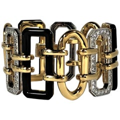 "Chanel ""Baroque"" Bracelet, Gold, Onyx and Diamond"