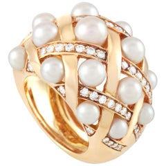 Chanel Baroque Matelassé 18 Karat Yellow Gold Diamond and Pearl Ring
