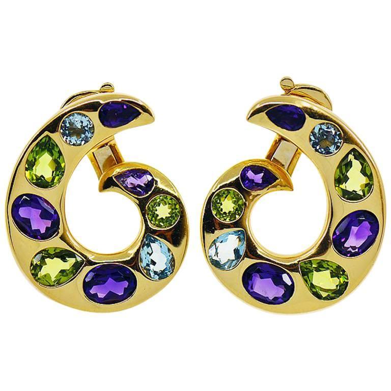 Chanel Baroque Multi-Gemstone 18K Clip Earrings, Aquamarine, Amethyst, Peridot