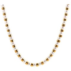 Chanel Baroque Pearl Beads 18 Karat Yellow Gold Long Strand Necklace