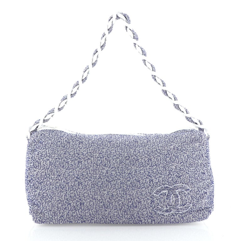 Chanel Beach Resin Chain Hobo Terry Cloth Large In Good Condition For Sale In New York, NY
