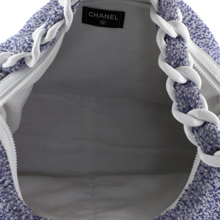 Chanel Beach Resin Chain Hobo Terry Cloth Large For Sale 1