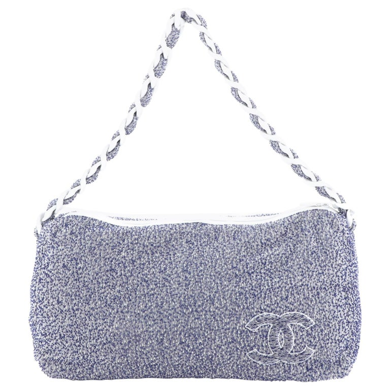 Chanel Beach Resin Chain Hobo Terry Cloth Large For Sale