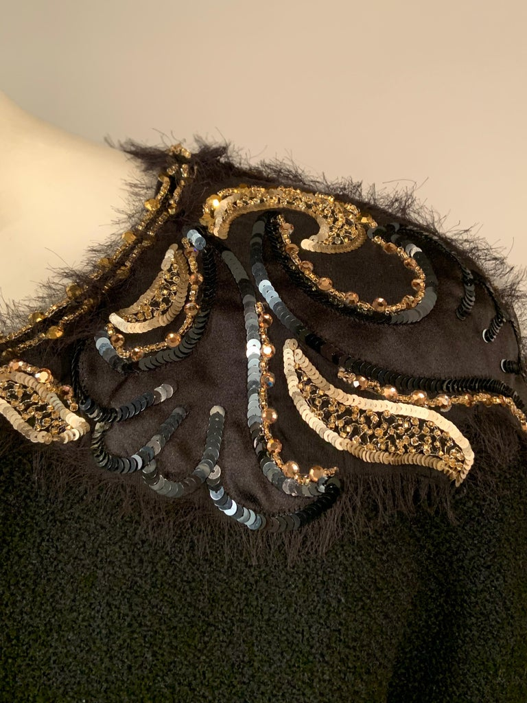 Chanel Beaded and Embroidered Black Wool Boucle and Satin Ribbon Jacket In Excellent Condition For Sale In New Hope, PA
