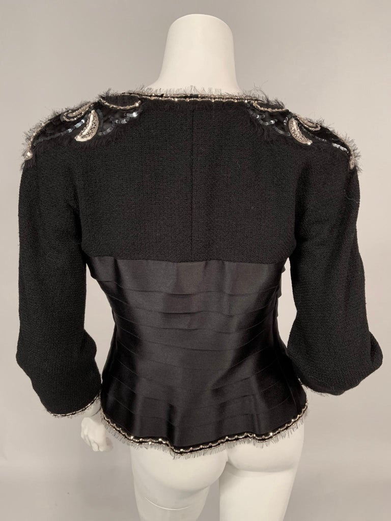 Chanel Beaded and Embroidered Black Wool Boucle and Satin Ribbon Jacket For Sale 4