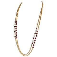 Chanel Beaded Red Gripoix and Pearl Necklace