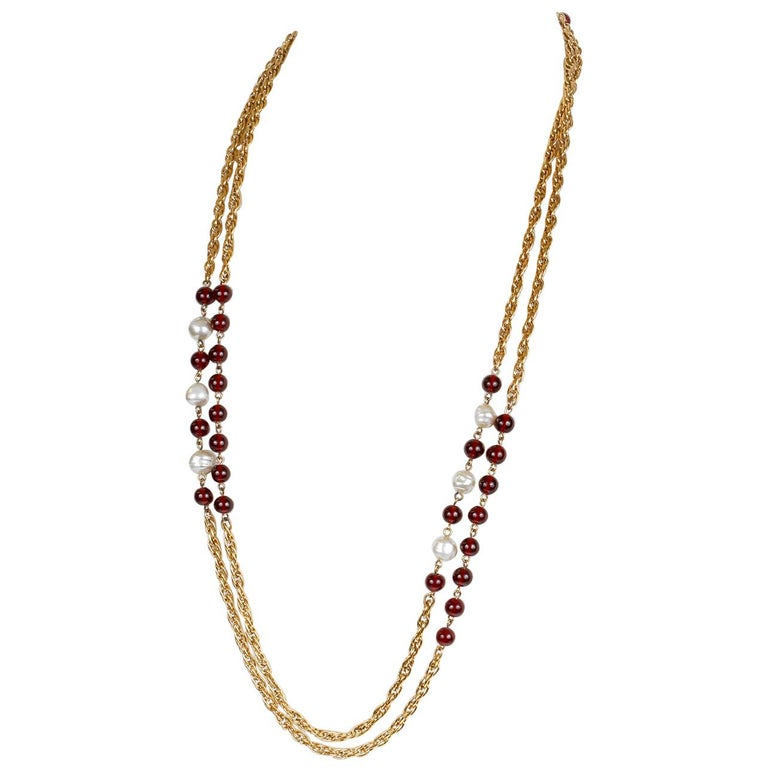 Chanel Beaded Red Gripoix and Pearl Necklace For Sale