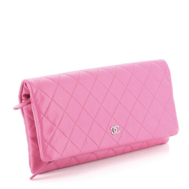 Pink Chanel Beauty CC Clutch Quilted Caviar For Sale