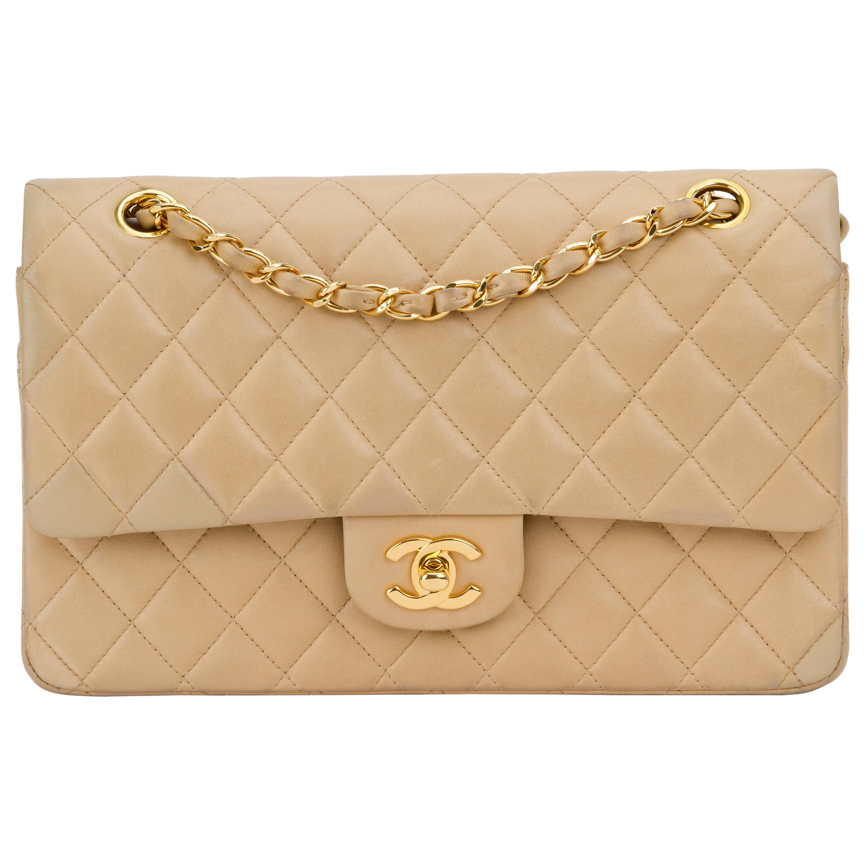 "Chanel Beige 10"" Double Flap Gold Hardware"