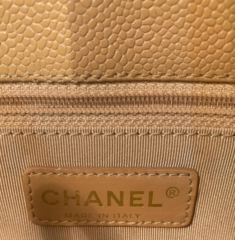 Chanel Beige (20) Matelasse Quilted Caviar Leather Gold Chain Grand Shopping Bag For Sale 7