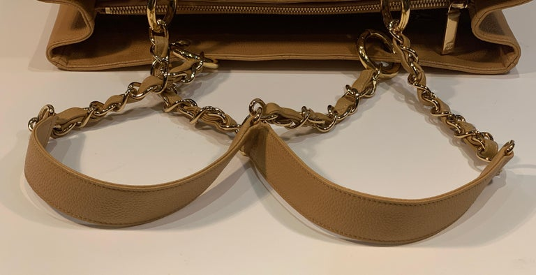 Chanel Beige (20) Matelasse Quilted Caviar Leather Gold Chain Grand Shopping Bag For Sale 8