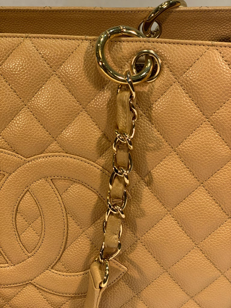 Chanel Beige (20) Matelasse Quilted Caviar Leather Gold Chain Grand Shopping Bag For Sale 9