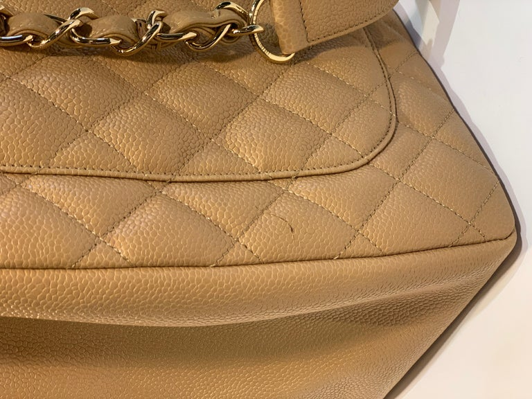 Chanel Beige (20) Matelasse Quilted Caviar Leather Gold Chain Grand Shopping Bag For Sale 10