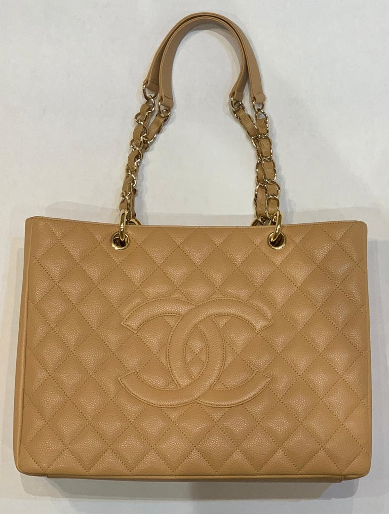 Brown Chanel Beige (20) Matelasse Quilted Caviar Leather Gold Chain Grand Shopping Bag For Sale