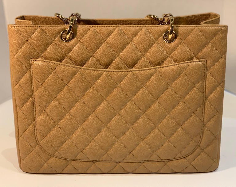 Chanel Beige (20) Matelasse Quilted Caviar Leather Gold Chain Grand Shopping Bag For Sale 1