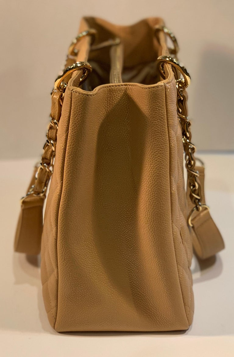 Chanel Beige (20) Matelasse Quilted Caviar Leather Gold Chain Grand Shopping Bag For Sale 3