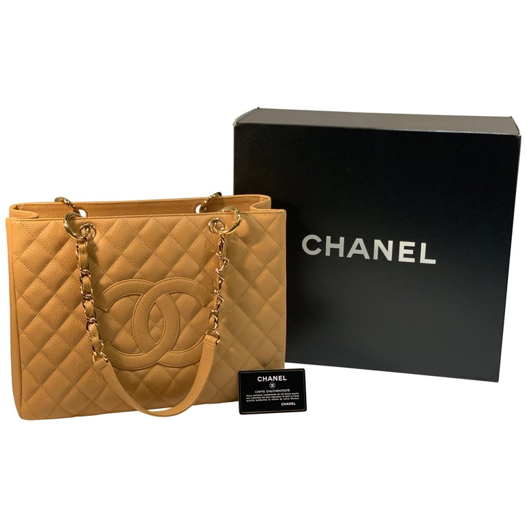 Chanel Beige (20) Matelasse Quilted Caviar Leather Gold Chain Grand Shopping Bag For Sale