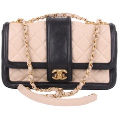 Chanel Beige and Black Leather Two Tone Flap Bag