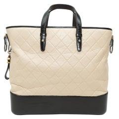 Chanel Beige & Black 2017 Large Gabrielle Tote Bag