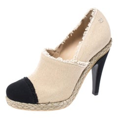 Chanel Beige/Black Canvas Cap Toe Espadrille Booties Size 38.5