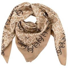 Chanel Beige, Black & Cream Silk Logo Scarf