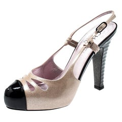 Chanel Beige/Black Glitter Textured Patent Leather Cut Out Detail Cap Toe CC Sli