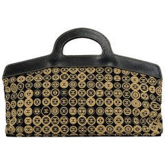 Chanel Beige & Black Jersey CC Printed East/West Tote Bag