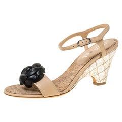 Chanel Beige/Black Leather Camellia Slingback Cork Wedge Heel Sandals Size 37