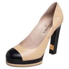 Chanel Beige/Black Leather Cap Toe Platform Pumps Size 40