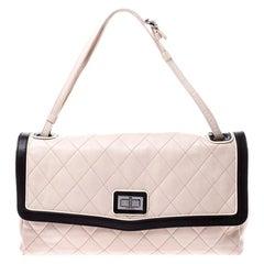 Chanel Beige/Black Quilted Leather Mademoiselle Maxi Flap Shoulder Bag