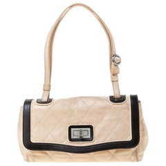 Chanel Beige/Black Quilted Leather Reissue Shoulder Bag