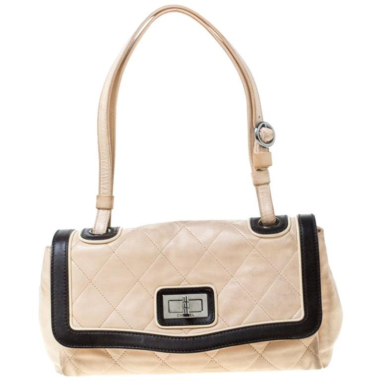 Chanel Beige/Black Quilted Leather Reissue Shoulder Bag For Sale