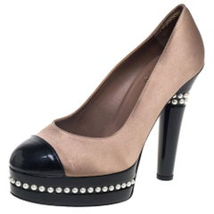 Chanel Beige/Black Satin And Patent Leather Cap Toe Pearl Pumps Size 39.5