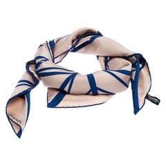 Chanel Beige & Blue CC Geometric Silk Scarf
