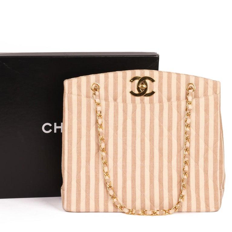 Chanel Beige & Brown Quilted Striped Linen Vintage XL Timeless Shoulder Bag For Sale 7