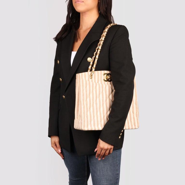 Chanel Beige & Brown Quilted Striped Linen Vintage XL Timeless Shoulder Bag For Sale 8