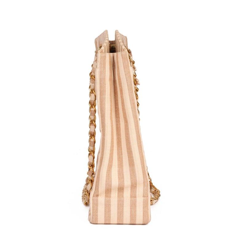 Orange Chanel Beige & Brown Quilted Striped Linen Vintage XL Timeless Shoulder Bag For Sale