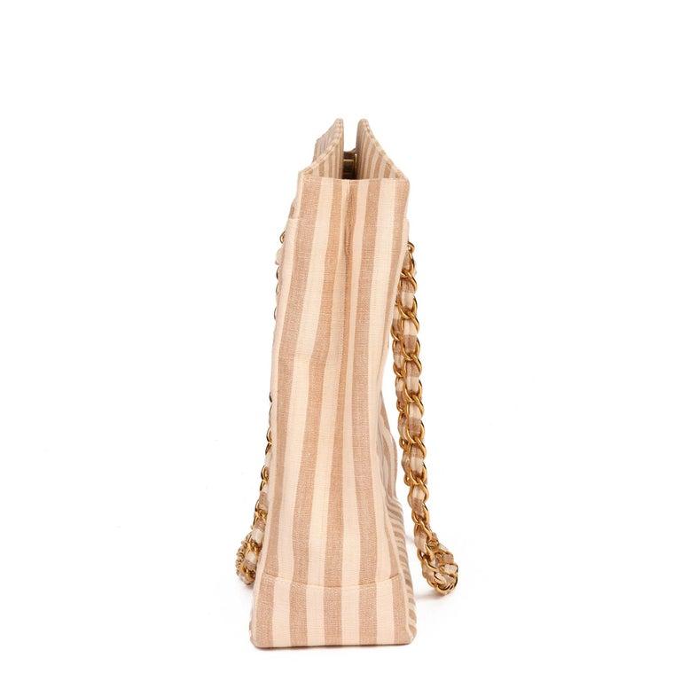 Chanel Beige & Brown Quilted Striped Linen Vintage XL Timeless Shoulder Bag In Excellent Condition For Sale In Bishop's Stortford, Hertfordshire