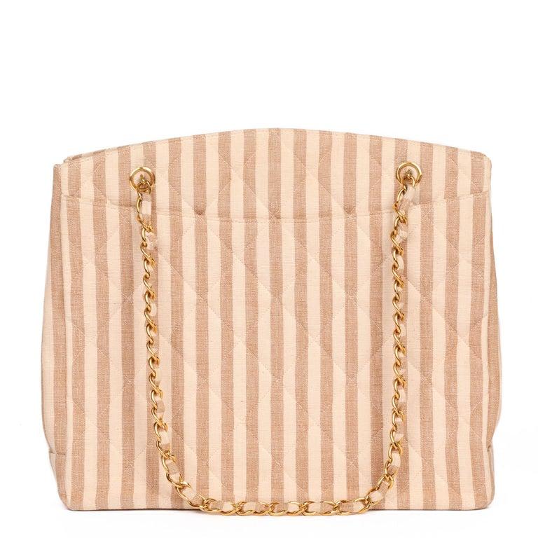Women's Chanel Beige & Brown Quilted Striped Linen Vintage XL Timeless Shoulder Bag For Sale