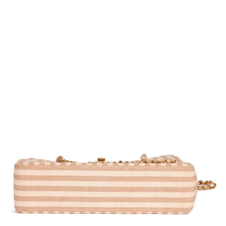 Chanel Beige & Brown Quilted Striped Linen Vintage XL Timeless Shoulder Bag For Sale 1